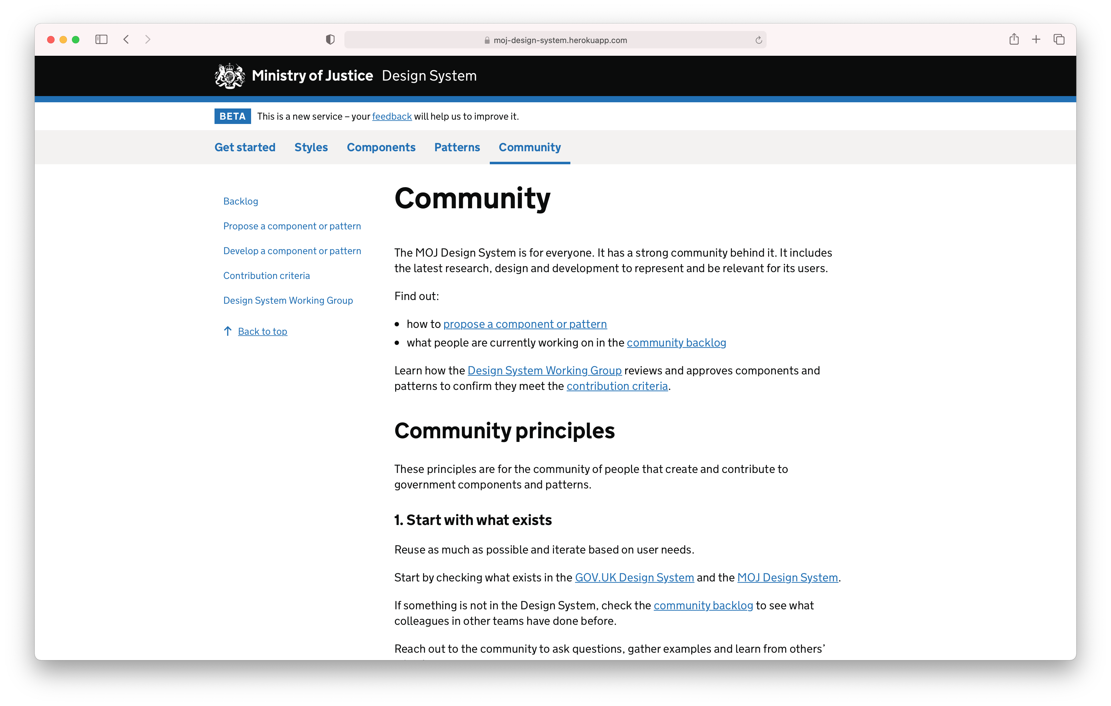 Screenshot of the MoJ Design System community section.